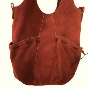 Lucky Brand red suede  leather shoulder bag tote